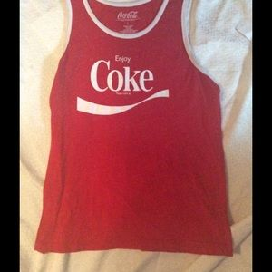 Coca Cola shirt in red/white fabric sz L